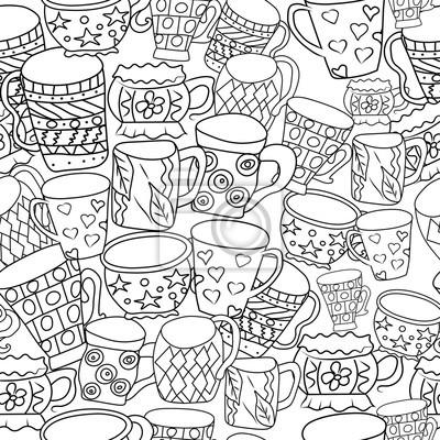 Naklejka Wzorzec z filiżanek i kubków. Ręcznie rysowane zentangle. Wektor ilustracji eps 10 dla swojego projektu. Czarno-białe tło.