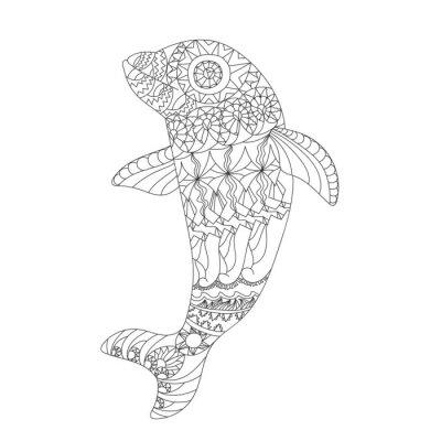 Naklejka Wzorzyste Delfin zentangle stylu