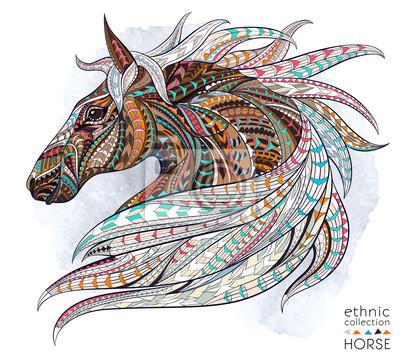 Naklejka Wzorzyste głowa konia na tle grunge. Afrykański / indian design / totem / tatuaż. Może być stosowany do projektowania t-shirt, torby, pocztówka, plakat i tak dalej.