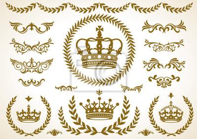 Naklejka 王冠, 月 桂樹, 飾 り セ ッ ト