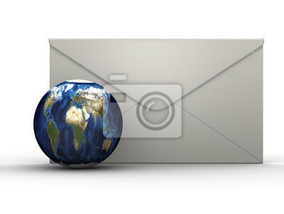 Naklejka Планета Земля на фоне почтового конверта