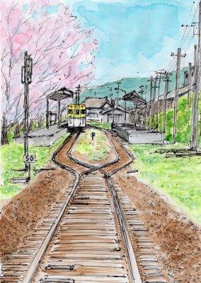 Naklejka 桜 の 咲 く 駅