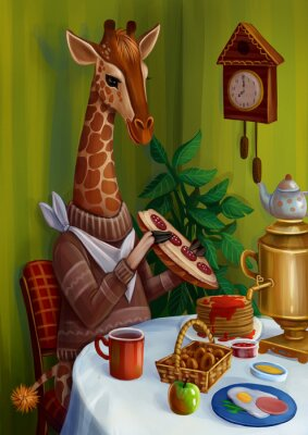 Naklejka Жираф пьет чай, завтракает