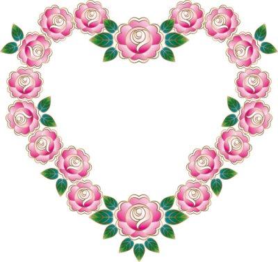 Naklejka 薔薇 の ハート フレーム