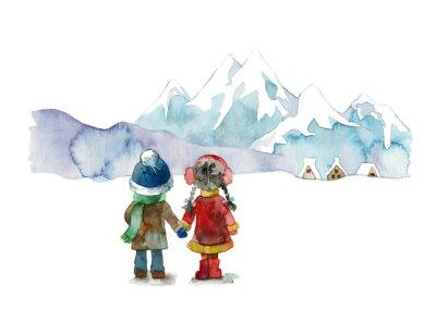 Naklejka 雪山 と 子 供