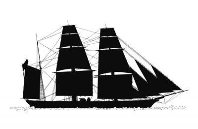 Naklejka 帆船 ー シルエット