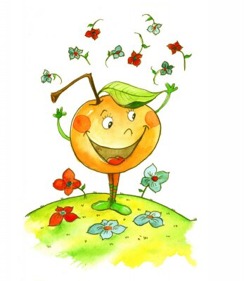 Naklejka яблоко акварель