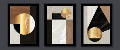 Naklejka Abstract Math art background vector. Modern block color art wallpaper. Geometric marbling gold style texture. Cubism slow-poly backgrounds. Good for home deco, wall art, poster, invite and cover.