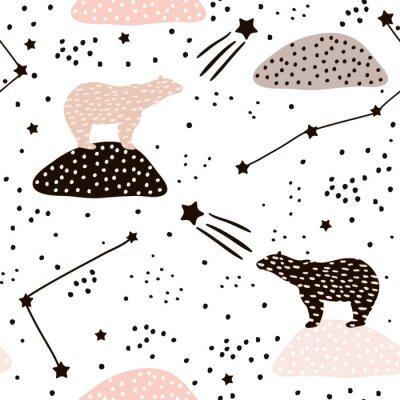 Naklejka Bez szwu deseń z niedźwiedzia polarnego silhouette i konstelacji. Doskonały do tkanin, textile.Vector tle