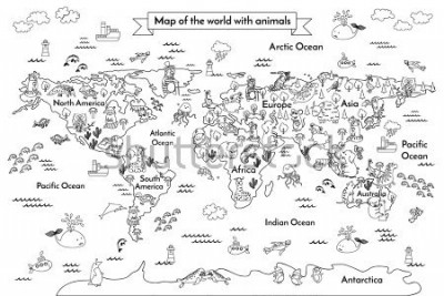 Naklejka Coloring book map of the world. Ð¡artoon globe with animals. Black and white hand drawn vector illustration. Oceans and continent: South America, Eurasia, North America, Africa, Australia