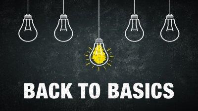 "Naklejka Phrase ""back to basics"" on a rustic background with 5 light bulbs."