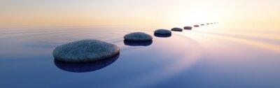 Naklejka Steine im See bei Sonnenaufgang Querformat 3: 1