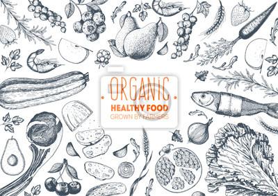 Naklejka Zdrowego stylu żywnoÅ> ci ramki ilustracji wektorowych. Warzywa, owoce, wyciągnąć rękę mięsa. Zestaw żywności ekologicznej
