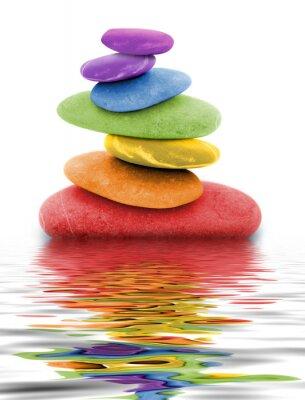 Naklejka zen regenbogen kieselsteine im Wasser
