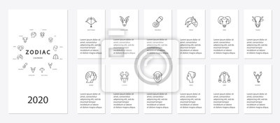 Naklejka Yearly forecast by zodiac constellations template for horoscope