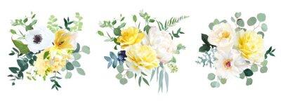 Naklejka Yellow rose, hydrangea, white peony, tulip, anemone, spring garden flowers