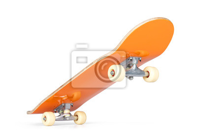 Naklejka Yellow skateboard deck, isolated on white background. File contains a path to isolation