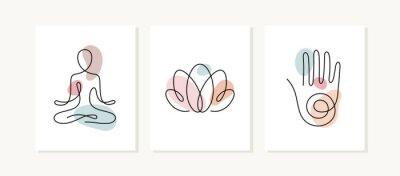 Naklejka Yoga posters. One line vector illustration. Lotus position, lotus flower and hand, spiritual sign.