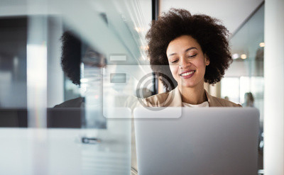Naklejka Young african american woman working with tablet in office