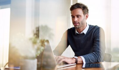 Naklejka Young businessman using a laptop while working from home