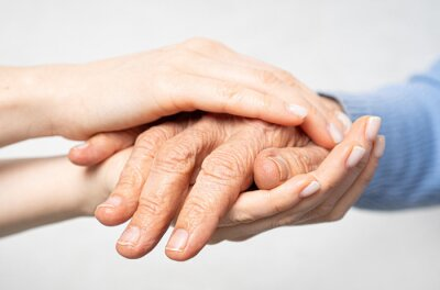 Naklejka Young hands hold old hands. Support for the elderly concept.