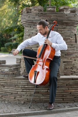Naklejka Young man playing cello outside. Cellist playing classical music on cello