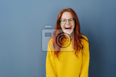 Naklejka Young redhead woman with lovely sense of humor