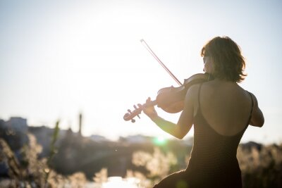Naklejka Young woman violinist posing playing on the street during sunset close up