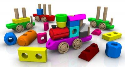 Naklejka Zabawka konstruktora. Drewniane zabawki pociągu