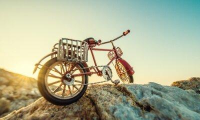 Naklejka zabawki retro rower nad morzem