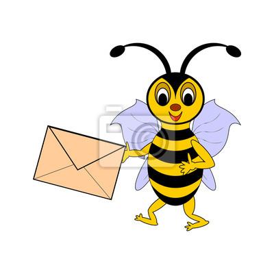 Zabawna cartoon pszczoła z listem w ręku