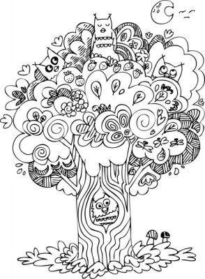 Naklejka Zabawna drzewa z cute wyciem