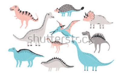 Naklejka zabawna kolekcja dinozaurów. Śliczne dziecinne postacie w pastelowych kolorach. Kolorova ręka ilustracja.
