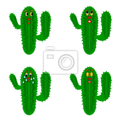 Naklejka Zabawna kreskówka kaktusy