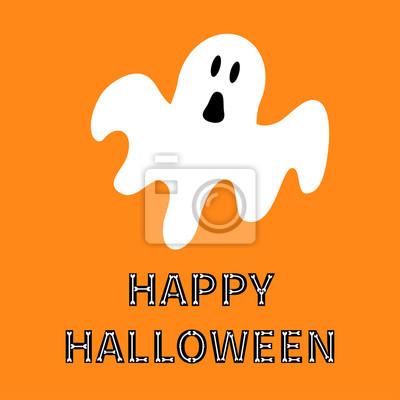 Zabawne Latania Duchem Happy Halloween Tekst Kostnego Kartka Naklejki Redro