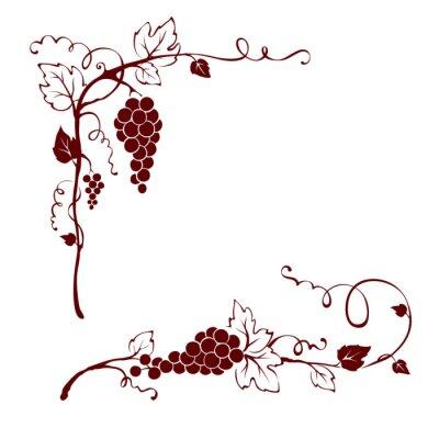 Naklejka Zabytkowe elementy projektu - winorośli