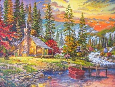 Naklejka Zachód słońca nad jeziorem