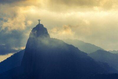 Naklejka Zachód słońca w Chrystusa Odkupiciela, Rio de Janeiro, Brazylia