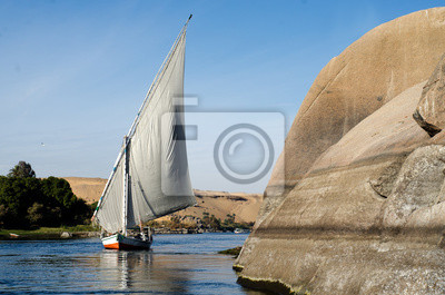 Naklejka Żaglowiec Felucca na Nilu, Asuan, Egipt