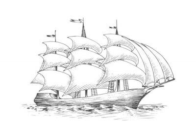 Naklejka Żaglowiec na oceanie z żaglami powiewa