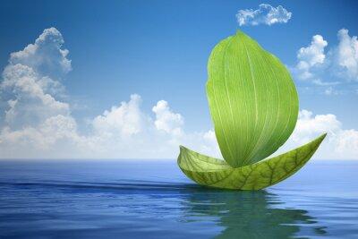 Naklejka Żaglówka z zielonych liści
