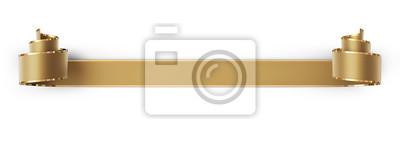 Naklejka Zakręcony złote jedwabne wstążki ze złotymi paskami