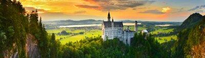 Naklejka Zamek Neuschwanstein o zachodzie słońca, Niemcy