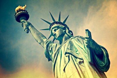 Naklejka Zamknąć się Statua Wolności, Nowy Jork, rocznik proces