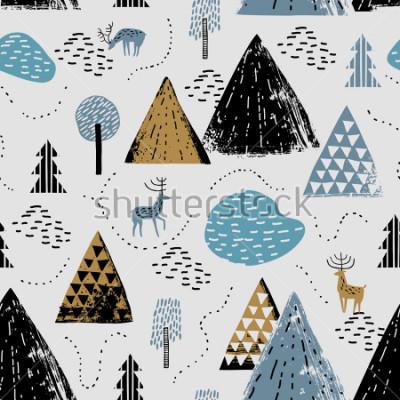 Naklejka Zamknięty wzór z krajobrazem górskim, raindeer i lasem. Idealny na karty, przyjęcia, tapety, banery, przedszkole, chrzciny, dekoracje pokoju dziecięcego. Skandynawski krajobraz.