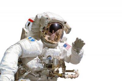 Naklejka Zamknij się astronauta na białym tle - elementy tego obrazu są dostępne przez NASA