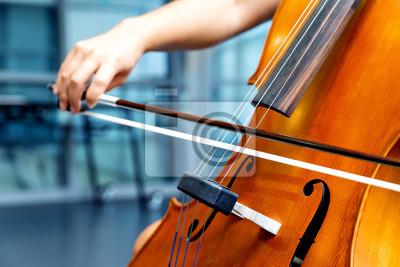 Naklejka Zamyka up wiolonczela z łękiem w rękach