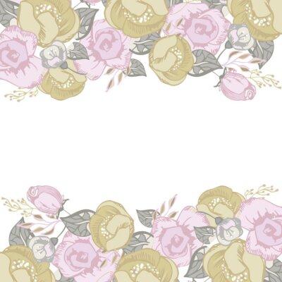 Naklejka Zaproszenie na ślub, karty z pozdrowieniami z kwiatów elementów 5