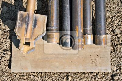 Dodatkowe Naklejka Zardzewiały świder do wiercenia studni z rur metalowych VK82