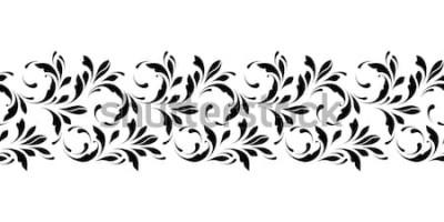 Naklejka Zarys kwiatowy wzór. Niekończące się ozdobne obramowanie do wstążek, tkaniny, opakowania, tapety, taśmy. Element dekoracyjny projektu tła i okładki.